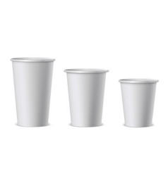 white paper cups realistic vector image