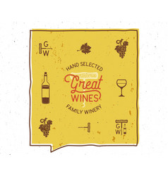 Wine winery logo and icons elements drink vector