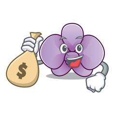 With money bag orchid flower character cartoon vector