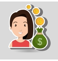 woman bag money currency vector image