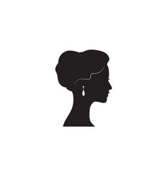 woman face silhouette lady profile with retro vector image