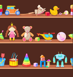 wooden cabinet with kids toys on shelves seamless vector image