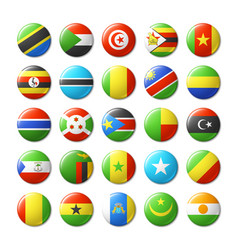 World flags round badges magnets africa vector