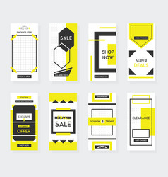 Yellow and black vertical sale mobile template set vector