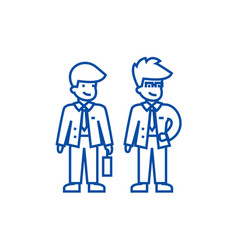young businessmen line icon concept young vector image