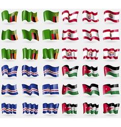 Zambia French Polynesia Cape Verde Jordan Set of vector