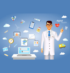 Digital health concept with medical icons vector image