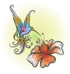 flying hummingbird in tattoo style vector image vector image