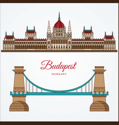 hungarian parliament building and the chain bridge vector image