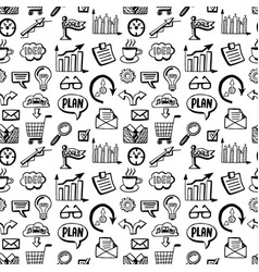 seamless pattern with business doodles icons set vector image