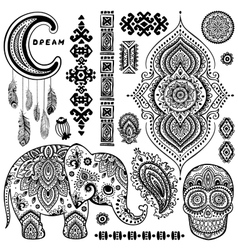 Set of ornamental Indian symbolsEthnic elephant vector image vector image