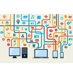 Social media devices connection concept vector image