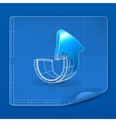 Drawing arrow blueprint vector image vector image