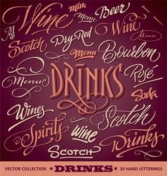 DRINKS menu headlines set vector image vector image