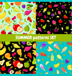 seamless summer patterns set colorful vector image vector image