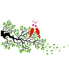 Tree with birds in love vector image vector image