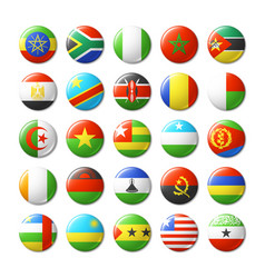 world flags round badges magnets africa vector image