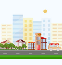 fast food buildings street view background vector image