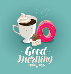 good morning banner hot drink coffee cup vector image