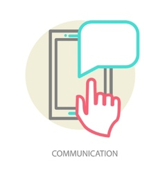 Hand and smartphone Chat application template vector image