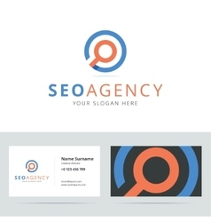 SEO agency logo and business card template vector image vector image