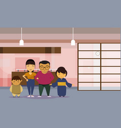 asian family parents with two kids at home vector image