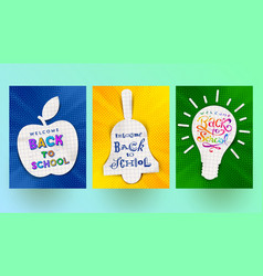 back to school - set of greeting banners vector image vector image