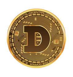 crypto currency dogecoin golden symbol vector image vector image