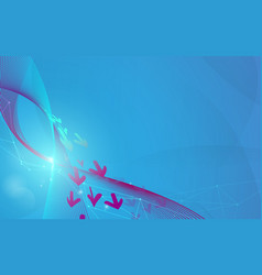 abstract blue wavy lines and arrows futuristic vector image