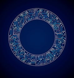 Abstract computer glare circuit board blue round vector