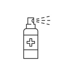 Antiseptic spray linear icon on white background vector