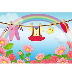Baby Clothes Hanging vector image