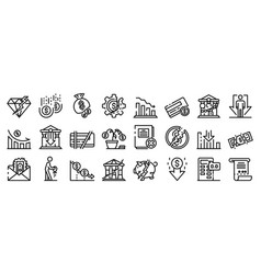 Bankrupt icons set outline style vector