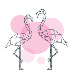 beautiful flamingo in geometric style vector image
