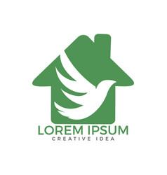bird home shape logo template design vector image
