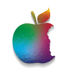 Bited apple sign colorful icon with vector