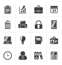 Black Business and office icons vector image vector image