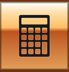 black calculator icon isolated on gold background vector image