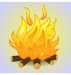 Bonfire isolated with wood and flame fire on grey vector image
