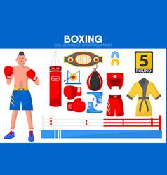 Boxing sport equipment boxer garment accessory vector