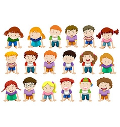 Boys and girls kneeling down vector image