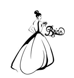 bride silhouette line art beautiful long vector image