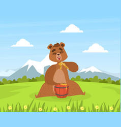 brown bear sitting on green lawn and eating honey vector image
