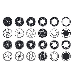 Camera shutter icons aperture and lens for focus vector