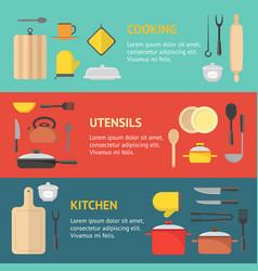 cartoon cookware banner horizontal set vector image