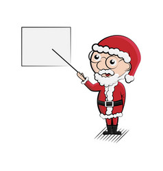 cartoon santa with gift presentation vector image