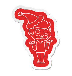 Cartoon sticker of a man totally stressed out vector
