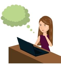 cartoon woman e-commerce laptop desk isolated vector image