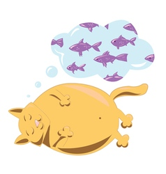 cat dreaming about fish vector image