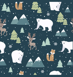 Christmas seamless pattern with polar bear vector